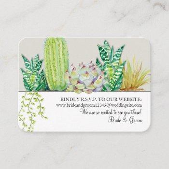 wedding website rsvp rustic western desert cactus business card