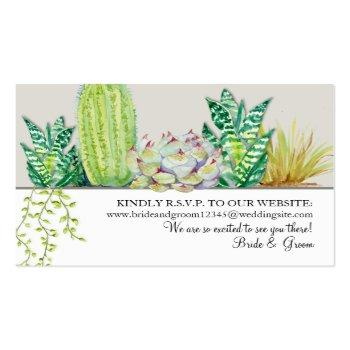 Small Wedding Website Rsvp Rustic Western Desert Cactus Business Card Front View