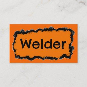 welder black and orange business card