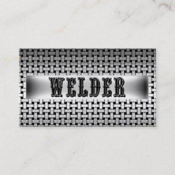 welder metal look business card