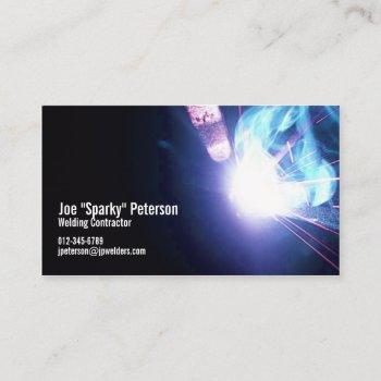 welder welding sparks blue business card