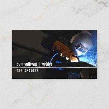 welder welding sparks trade skills business card
