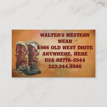 western boots business cards