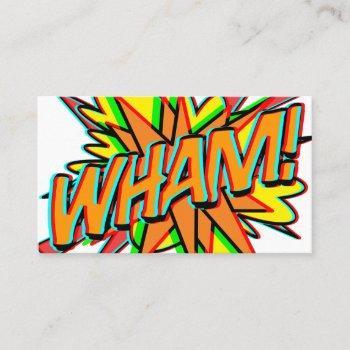 wham 3d fun retro comic book business card