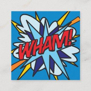 wham fun retro comic book square business card