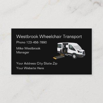 wheelchair transportation services business card