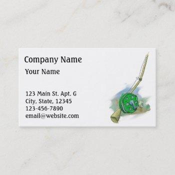 whimsical antique fishing reel business card