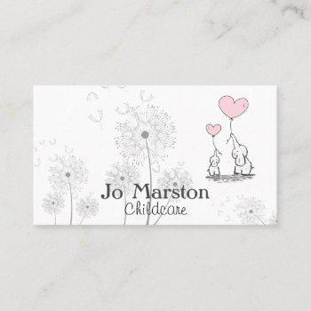whimsical childcare business card