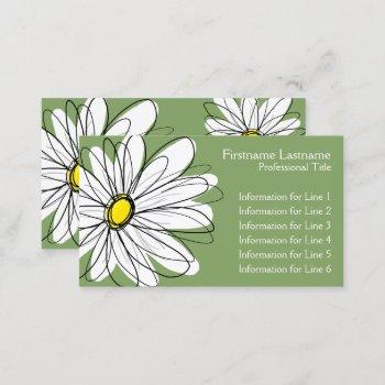 whimsical daisy - yellow green business card