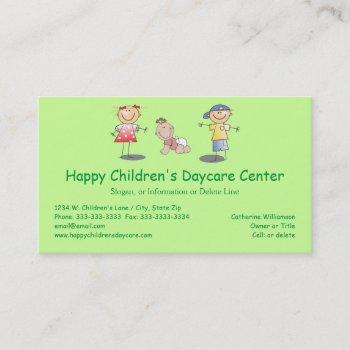 whimsical happy cartoon kids professional day care business card