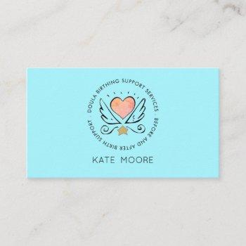 whimsical heart wings doula or midwife birth coach business card