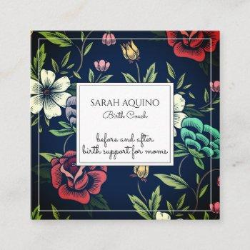 whimsical monogrammed floral birth coach doula square business card