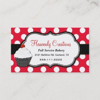 whimsical polka dot cupcake bakery business card
