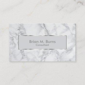 white and gray marble and metallic silver design business card
