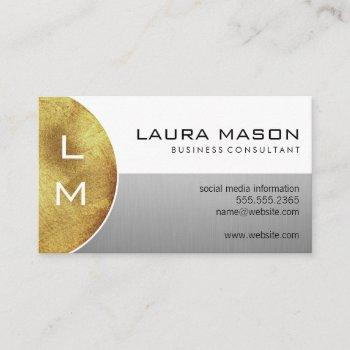 white and silver with monogram business card
