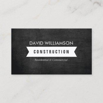 white banner construction, builder, architect logo business card