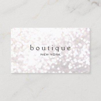 white bokeh glitter modern fashion & beauty business card