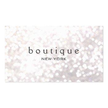 Small White Bokeh Glitter Modern Fashion & Beauty Business Card Front View