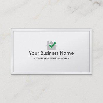 white border house inspections business card