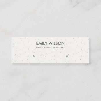 white ceramic texture stud earring display logo mini business card