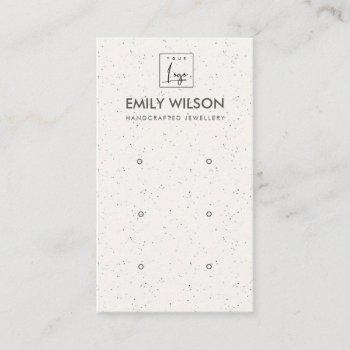 white ceramic texture three earring display logo business card