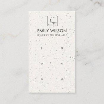 white ceramic texture three earring display logo business card