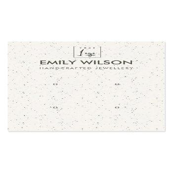 Small White Ceramic Texture Two Earring Display Logo Business Card Front View