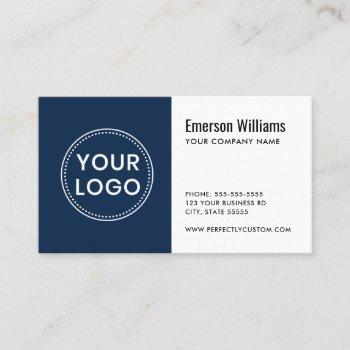 white dark blue custom logo modern minimalist business card