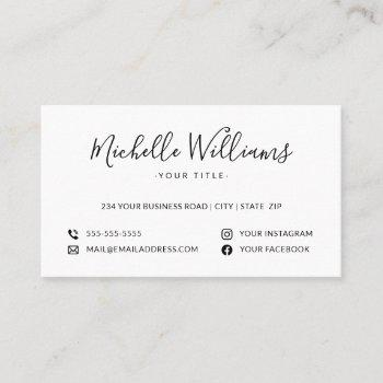 white feminine script custom logo social media business card