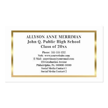 Small White | Gold Graduation Photo Insert Name Cards Back View