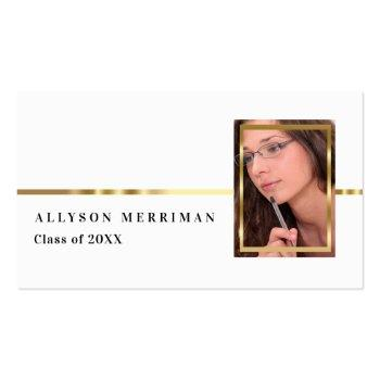 Small White | Gold Graduation Photo Insert Name Cards Front View