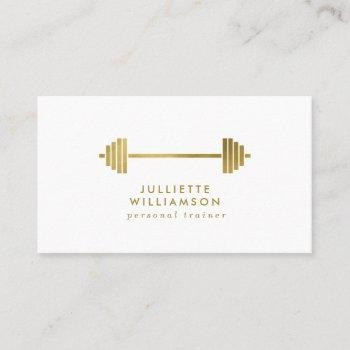 white & gold personal trainer social media business card