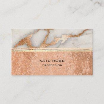 white gray carrara marble copper gold makeup coral business card