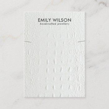 white leather texture necklace bracelet display business card