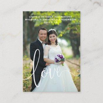 white love script overlay wedding favor holy card