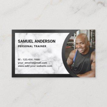 white marble fitness personal trainer photo business card