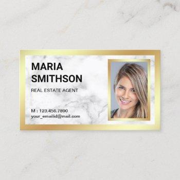 white marble gold foil real estate realtor photo business card