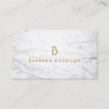 white marble interior designer business card