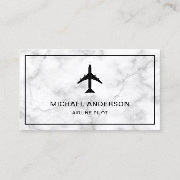 white marble jet aircraft airplane airline pilot business card