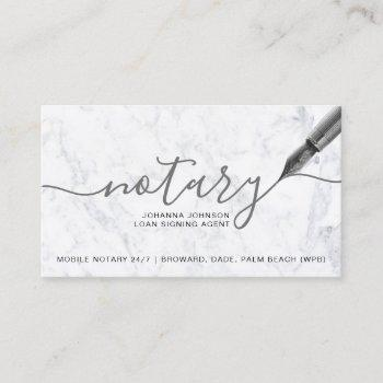 white marble mobile notary loan typography business card