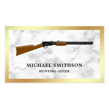 Small White Marble Shotgun Rifle Gun Shop Gunsmith Business Card Front View