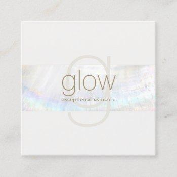 white modern elegant monogranseashell stripe square business card