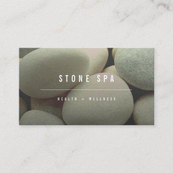 white pebbles stones minimalist photo spa wellness business card