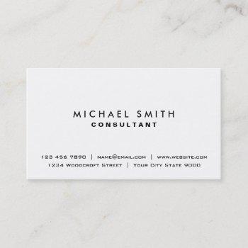white professional plain elegant modern simple business card
