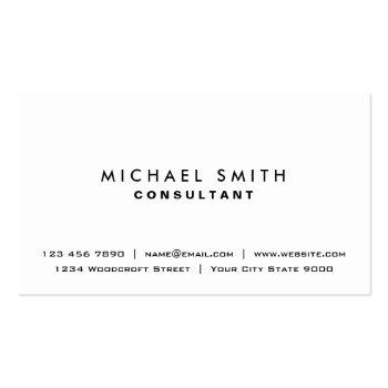 Small White Professional Plain Elegant Modern Simple Business Card Front View