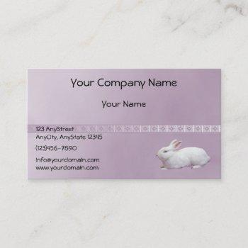 white rabbit on lilac background business card