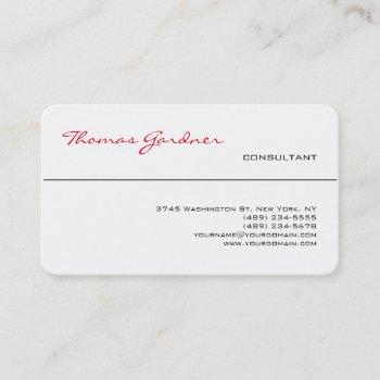 white red trendy handwriting plain creative modern business card