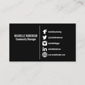 white social media icons on w¡black background business card