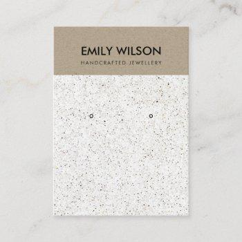 white terrazzo texture kraft earring display logo business card