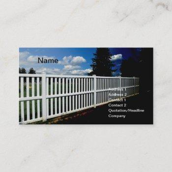white vinyl fence business card
